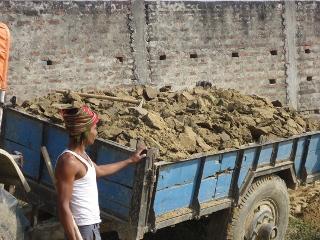 Unloading dirt Raxaul