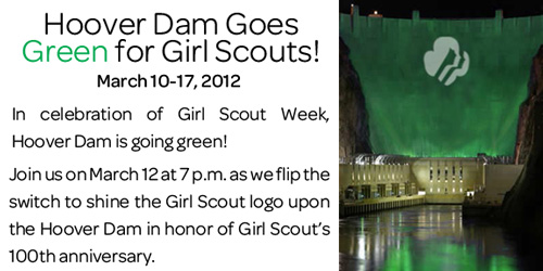 Hoover Dam Goes Green for Girl Scouts!