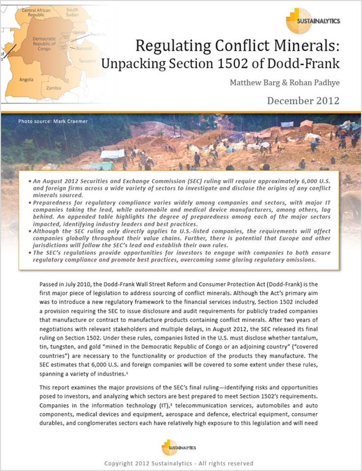 Regulating Conflict Minerals: Unpacking Section 1502 of Dodd-Frank