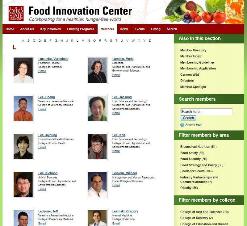 FIC Members Page Screen Shot