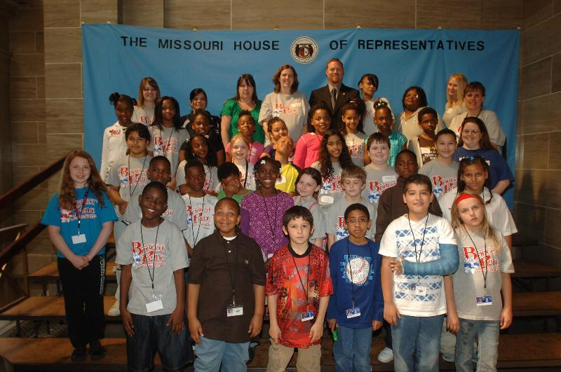 Rep. Jason Holsman with a group of students from Boone Elementary.