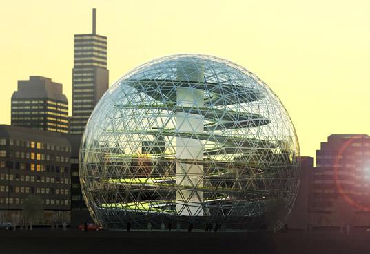 A spherical shaped vertical farm.