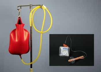 4 Quart Enema Bag, Amber Tubing, Tubing Clamp and Retention Nozzle