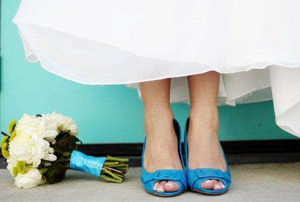 Blue shoes wedding dress