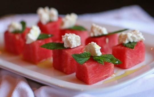 Watermelon Feta Sqaures