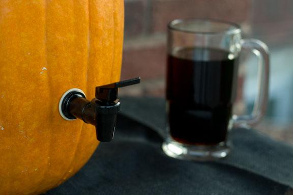 Pumpkin drink dispenser