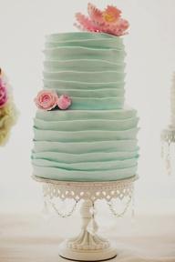 Mint Wedding Cake, Pink Flowers