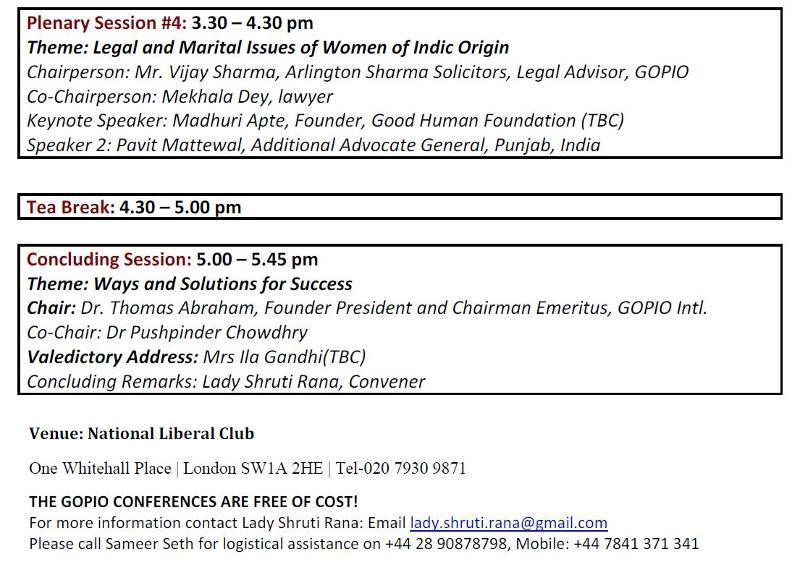 GOPIO International Indic Women's Conference in London - Program Part 2
