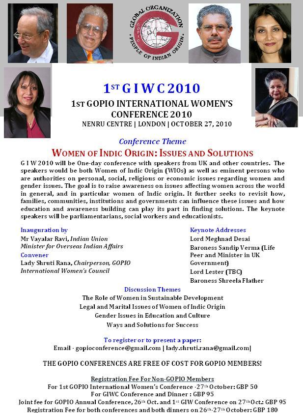Global Indian Diaspora Women's Conference Info.