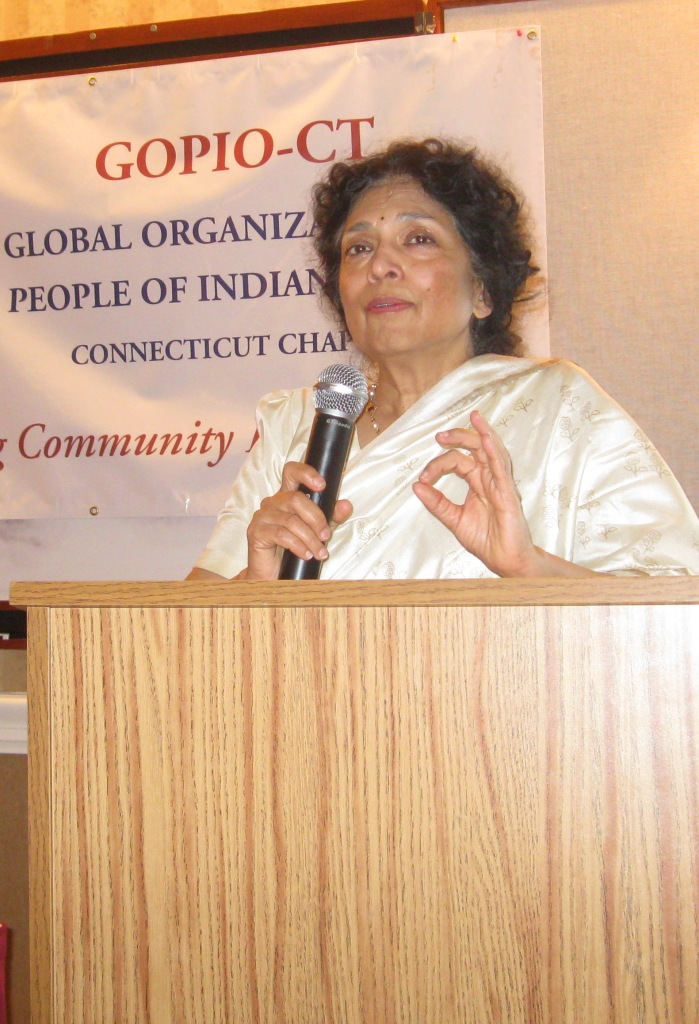 Dr. Maya Chadda speaking at GOPIO-CT program, March 11, 2011