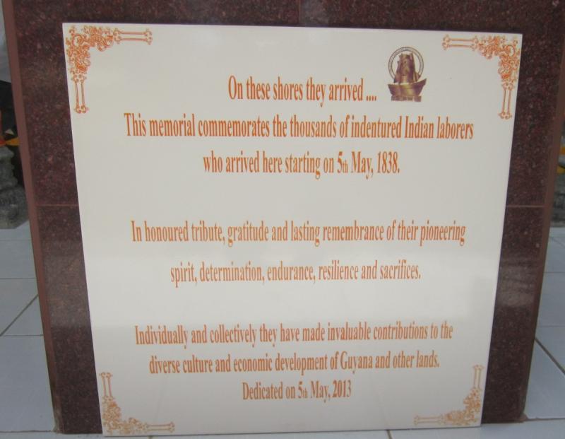 PIO Mounument in Guyana - Plaque in Highbury Park