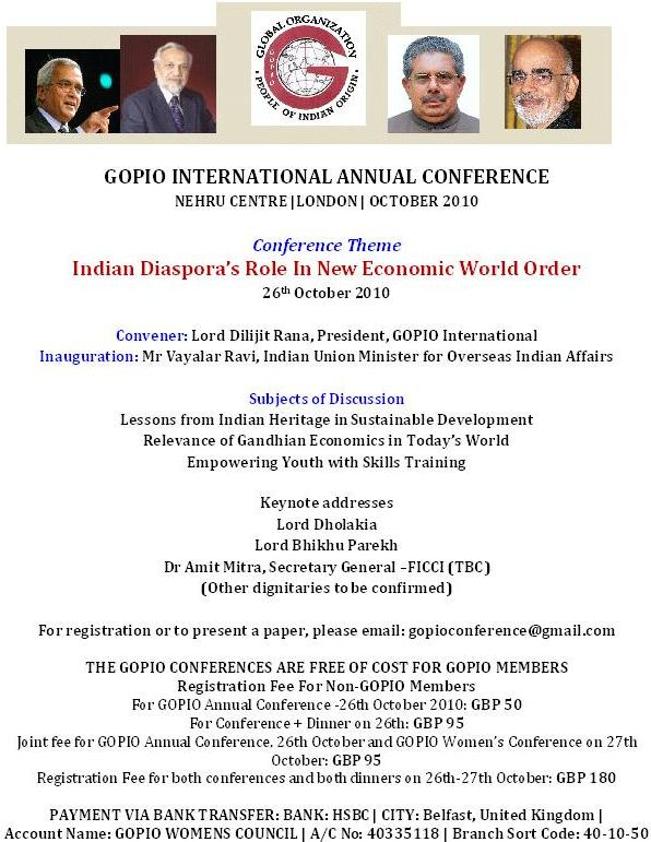 Info on GOPIO Annual Meeting in London, October 26, 2010