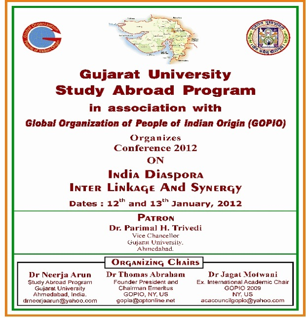 GOPIO-Gujarat University Diaspora Conference, Jan. 2012