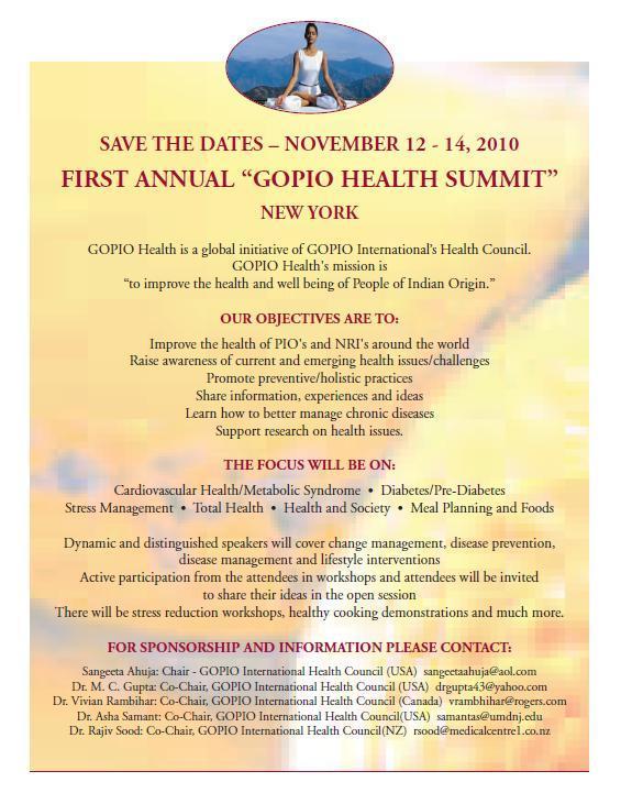 NRI/PIO Health Summit - Save the Date Nov. 12-14, 2010