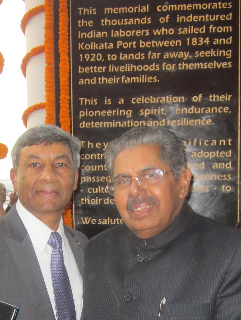 GOPIO Exec. VP Ashook Ramsaran with Minister Vayalar Ravi at the Memorial