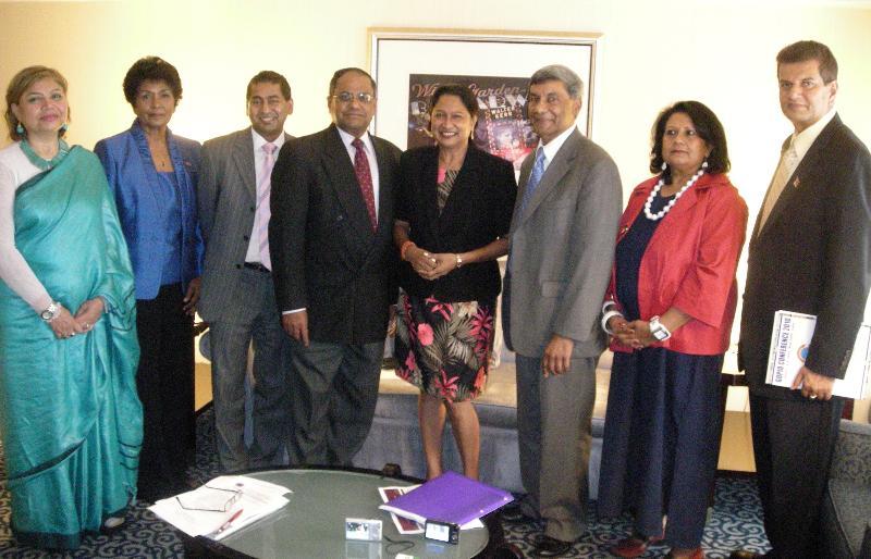 GOPIO Delegation with Trinidad Prime Minister Kamla Persad-Bissessar