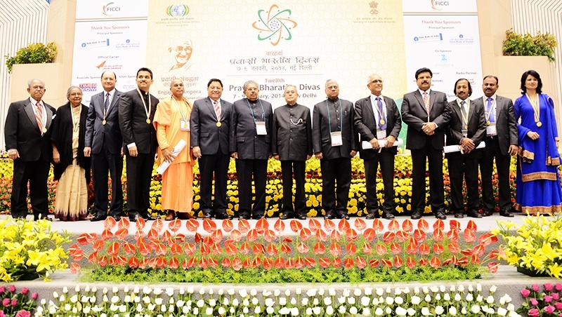 Pravasi Bharatiya Samman Awardees with President Pranab Mukherjee
