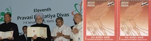 PM Manmohan Singh releases postage stamp honoring Gadar Heroes