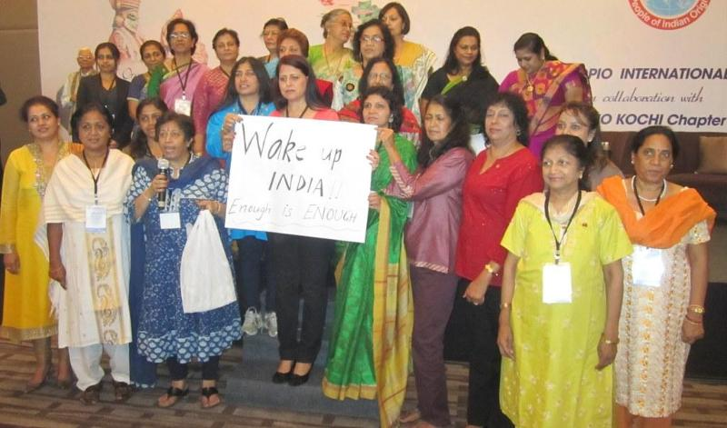 Women Delegates Demonstrating on Atrocities to Indian Women at GOPIO Conv. 2013