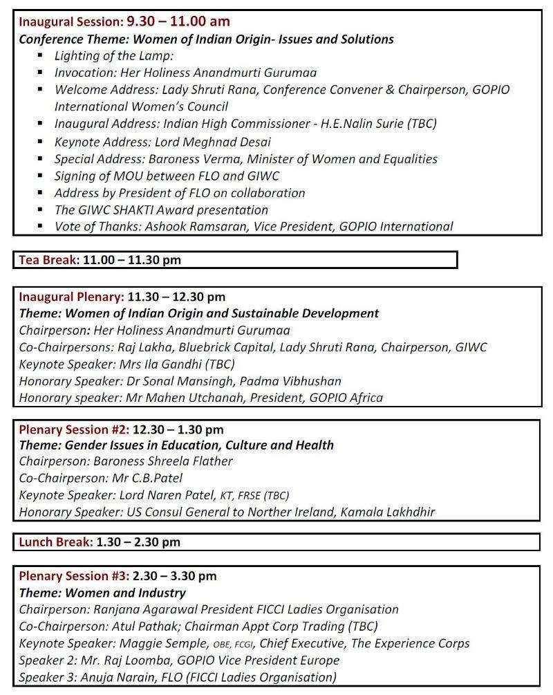 GOPIO International India Women's Conference Program-Part 1