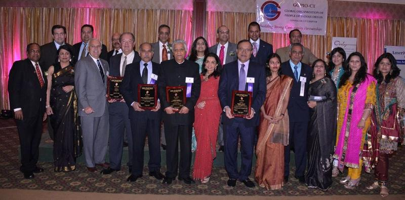 GOPIO-CT Offcicials with Dignitaries at Awards Banquet 2013