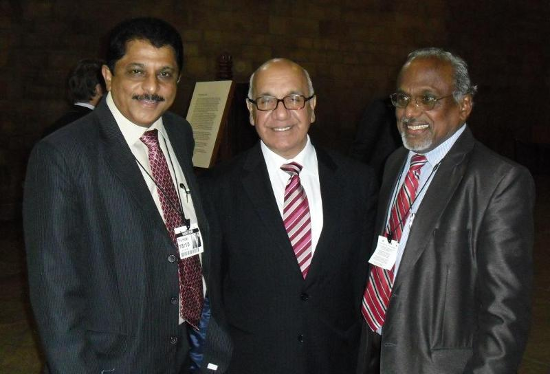 GOPIO Exec VP Sunny Kulathakal and Media Chair Isaac John with Virendra Kumar, MP