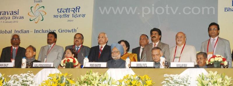 Pravasi Bharatiya Samman Recipients with Prime Minister Manmohan Singh at the Inauguration Session
