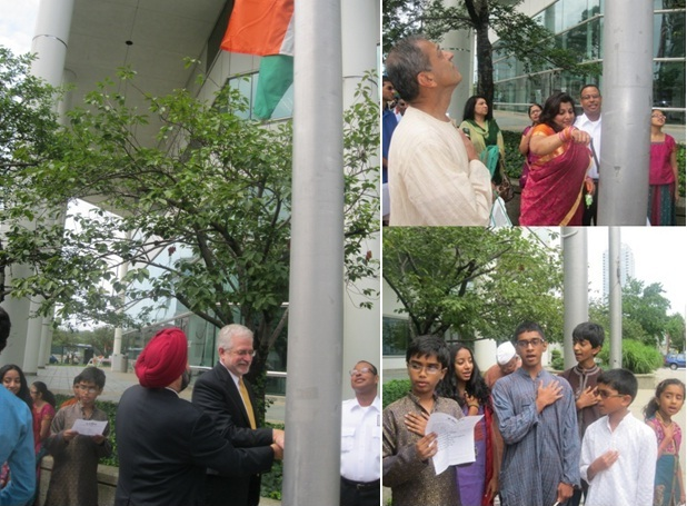 India Independence Day Celebrations with flag hoisting at the Govt. Center in Stamford