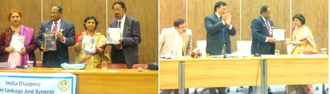 Dr. Anjan Sandhi'r book released and Dr. Neerja Arun honored.