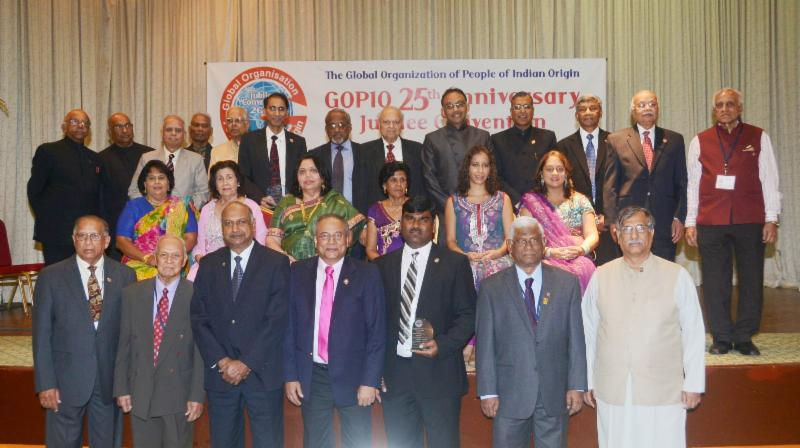 GOPIO Jubilee Recognition Awardees with Dignitaries and GOPIO Officials
