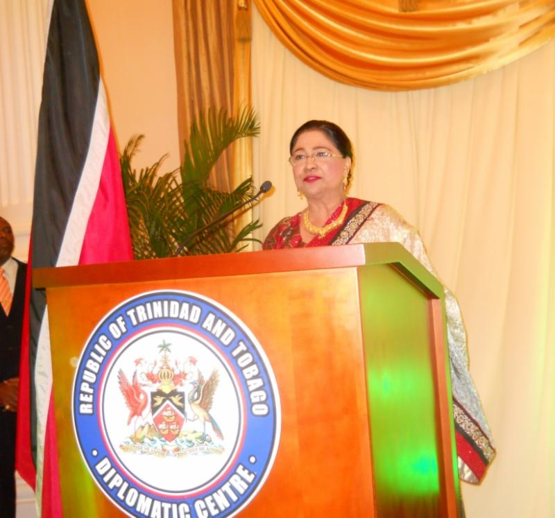 Trinidad and Tobago Prime Minister Kamla Persad Bissessar Speaking