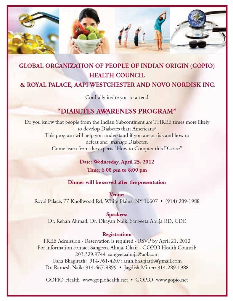 GOPIO Health Diabetes Awareness Program in White Plains, New York