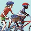 kids with books on bikes