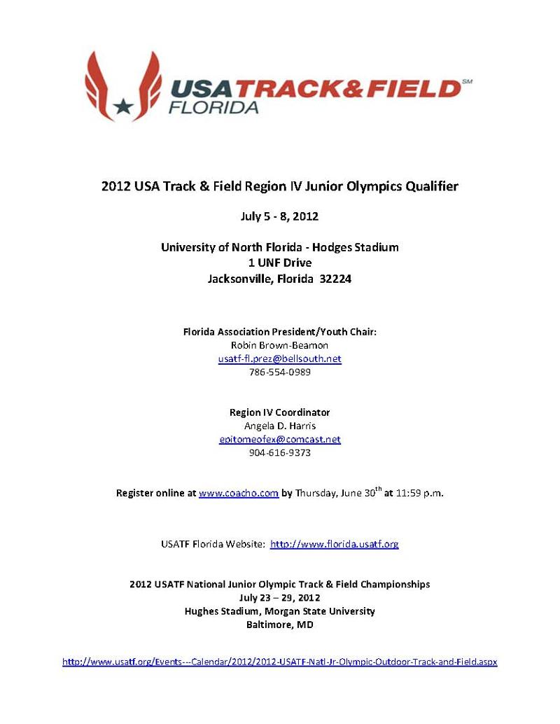 Newsletter from USATF Florida Association