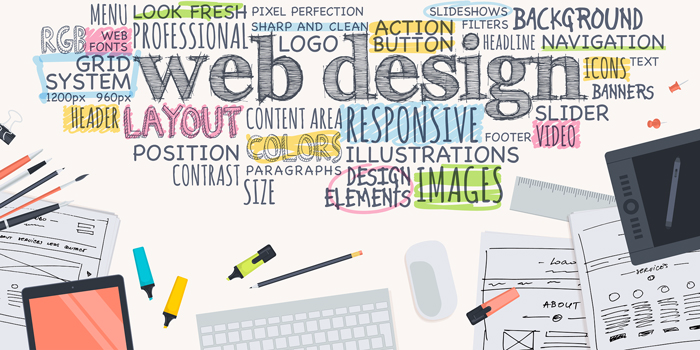 Image showing web design concepts through drawings and wording showing key aspects and considerations in web development