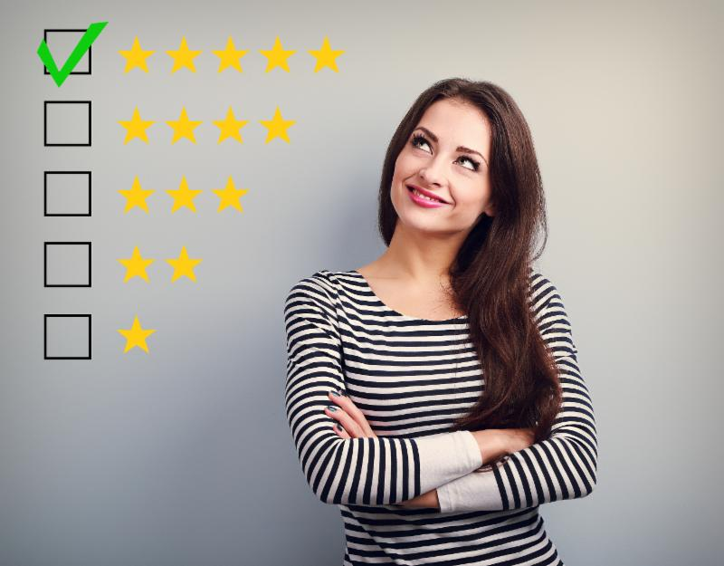 Business confident happy woman voting looking at series of stars from one to five in ranking with the five star ranking checked off