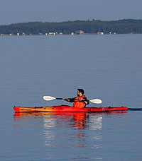 photo of kayaker on round lake