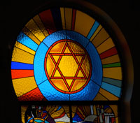 Photo of Stained Glass Synagogue Window in Kiev 2012