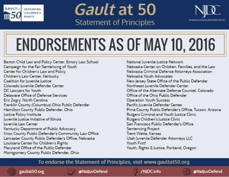 Gault at 50 Statement of Principles Endorsements as of May 10, 2016