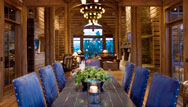 Log Home Interior of dining room