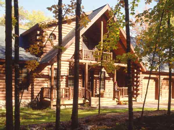 Log Home in Autumn