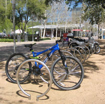 Bicycles parked at Discovery Green in Houston.