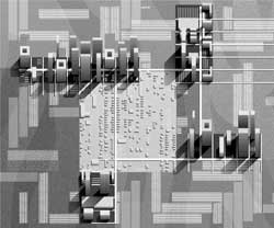 Albert Pope has imagined futures for Fifth Ward in which high-density developments relate to one another to shape shared spaces. Projection drawing- Tsvetelina Zoraveva.