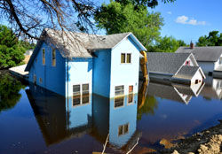 Housing experiencing flooding