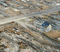 An aerial view of a house on that survived the destruction of Hurricane Ike. Jocelyn Augusitno-FEMA