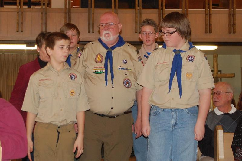 Escorting event at Elim during Scout Sunday