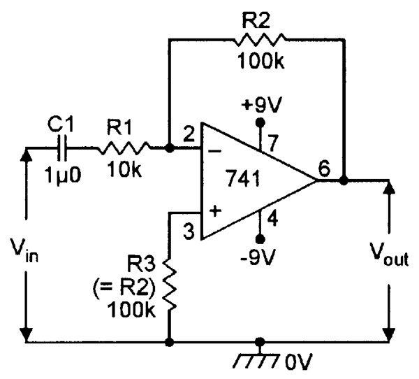 Inverting AC amplifier with x10 gain