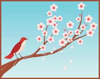 drawing of bird on cherry blossom branch