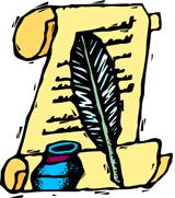 quill pen & scroll illustration