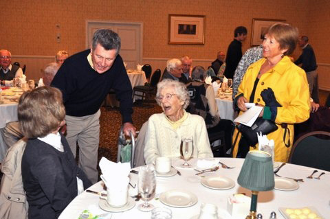 Nonagenian Gertrude Allen, center, chats with other guests at the CSC Annual Spring Luncheon.